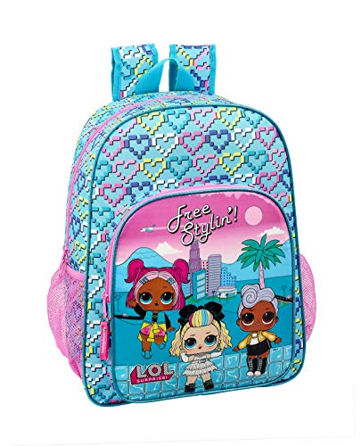 LOL Surprise Equipaje- Equipaje para niños Heart Mochila Grande Adaptable a Carro, Multicolor, Única