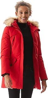 Women's Padded Jacket, Ladies Long Thicken Parka Faux Fur Down Alternative Winter Hooded Outwear Warm Overcoat XS-XXL