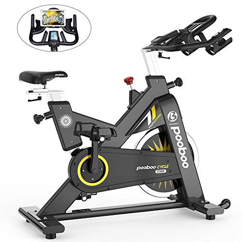 pooboo Commercial Exercise Bikes Heavy-Duty Belt Drive Indoor Cycling Bike Gym Stationary Bike with LCD Monitor Home Cardio Workout Bike Training (Red)