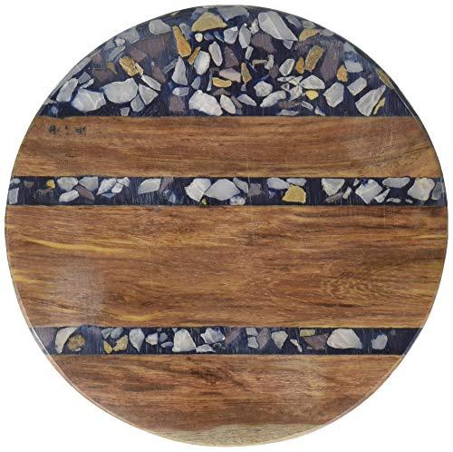 Proman Products Raumteiler one size Sheesham Untersetzer aus Holz und dunkelblauem Terrazzo, 4 Stück