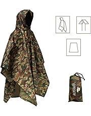 Euyecety Poncho de Lluvia Impermeable,3 en 1 Multifuncional Chubasquero Transpirable Ultrafino/Toldo Manta/Estera de Camping para Aire Libre Picnic Trekking Camping Senderismo