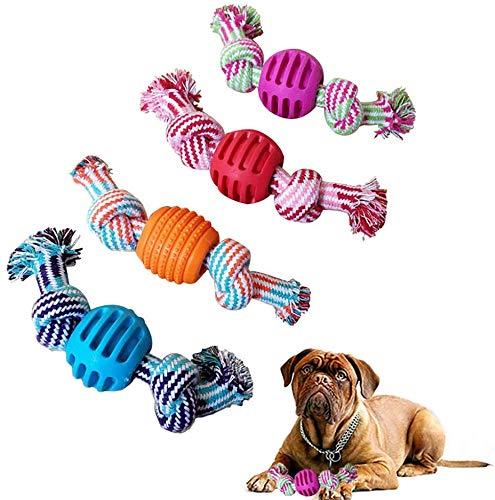 ASEDRF 4 Packs Pet Molaren Pull Trainings Toy Interactive Welpen Molar Ausbildung Seil Hundespielzeug, Flechten-Seil-Kugel-Spielzeug Aggressive Chewers Zahn-Reinigungs-Haustier-Spielzeug