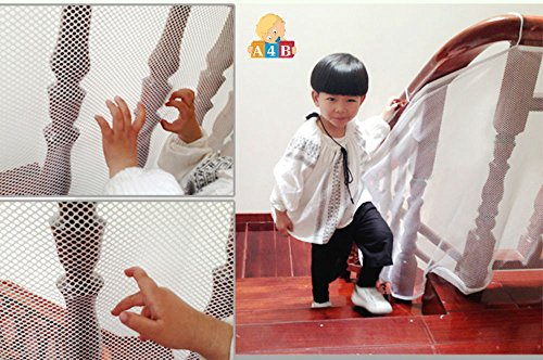 Best Baby Safety Fence Gate - 3 Meters White Protecting Net Railing Stairs Balcony for Child Safety