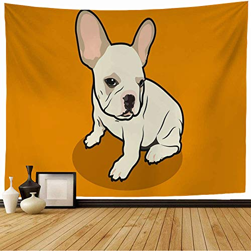 Wall Tapestry Brown Breed Cute Chubby French Bulldog His Adorable Animals Wildlife Orange Canine Character Dog Tapestry Wall Hanging Bedding Tapestry for Bedroom 80x60 Inch