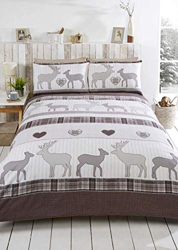 Rapport St Andrews Flannelette Duvet Cover Set-Natural-Single Copripiumino, 100% Spazzolato in Cotone, Singolo