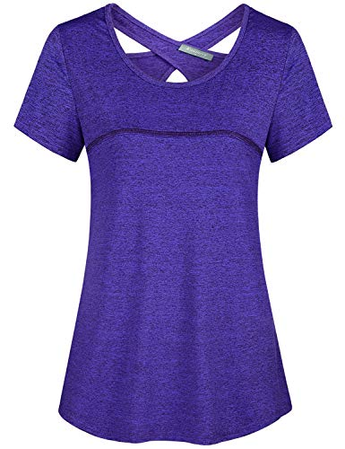 Kimmery Running Tops for Women, Loose Fresh Designer Shirts Sexy Open Back Short Sleeve Scoop Neck Leisure T-Shirt Compression Gym Wicking Moisture Tunic Cooling Athleisure Wear Purple XX Large