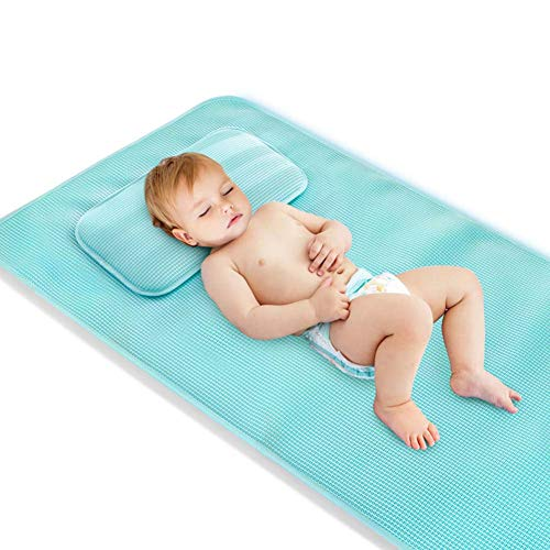 Thole Sommer kühl schlafende Babymatte Atmungsaktive Matratzen Kleinkinderbett Kinderbett Gemütliche Nickerchen Pads Kinderbett Matte Kindergarten Pad,Blue,120x60cm