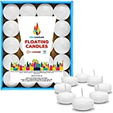 Unscented Floating Candles – Set of 60 White Floating Candles – Cute and Elegant Burning Candles – Candles with Nice and Smooth Flame – Party Accessories