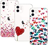 Young & Min Cover per iPhone 12 / iPhone 12 PRO Custodia, 3 Pack Morbido Trasparente Silicone Custodie Protettivo TPU Gel Case per iPhone 12 / iPhone 12 PRO, Amore