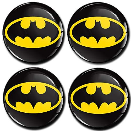 SkinoEu® 4 x 60mm Adesivi Resinati 3D Gel Stickers Auto Coprimozzo Universale Logo Silicone Autoadesivo Stemma Adesivo Copricerchi Tappi Ruote Colore Batman A 460