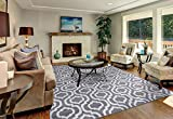Diagona Moroccan Trellis Design 8X10 8X10 Area Rug, 92' W x 116' L, Gray/Ivory