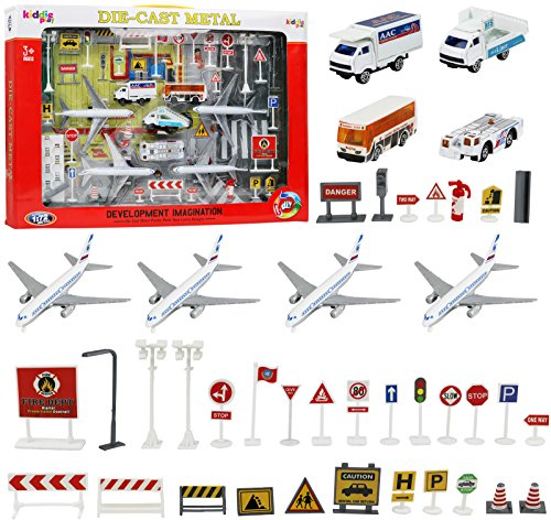 Kiddie Play Kids Airport Playset with Toy Airplane Vehicles and Accessories (43 Piece Set)