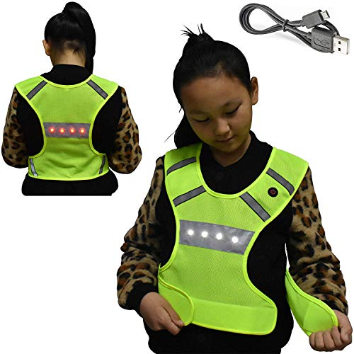 Machine Washable Reflective Running Vest with LED Lights USB Rechargeable Safety Gear with Adjustable Waist, High Visibility Light Up Flashing Vest Gifts for Men Women Kids Dog Walking (Small/Medium)
