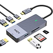 USB C Hub, MCY 7 in 1 Type C Hub with 4K USB C to HDMI, 3 USB 3.0 Ports, USB C PD Charging Thunderbolt 3 Hub, Card Reader Compatible with MacBook Pro, Chromebook Pixel Laptop Phone