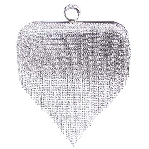 EVEOUT Bolso de Embrague de Noche con Incrustaciones de Diamantes Brillantes para Mujer,Bolso de Fiesta de Boda para Mujer Gran Opción de Regalo de Novia Bolsos de Mano con Anilla para Niñas