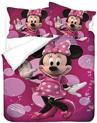 QWAS Mickey Minnie Mickey Mouse - Juego de ropa de cama de Disney con dibujos animados 3D, microfibra suave, 1 funda nórdica y 2 fundas de almohada (L3,220 x 240 cm + 50 x 75 cm x 2)