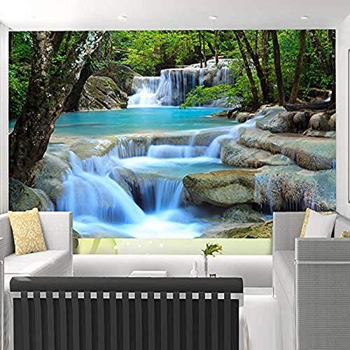 XHXI Creativo Hermoso bosque tranquilo Cascada Paisaje natural Impresión artística Carteles de gran Pared Pintado Papel tapiz 3D Decoración dormitorio Fotomural sala sofá pared mural-350cm×256cm