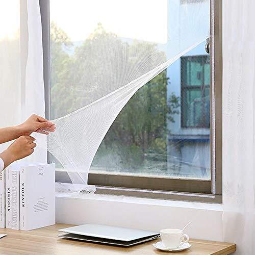 Faburo Malla mosquitera Standard para ventanas con parche de 3 piezas y herramienta de fijación, 1,3 m x 1,5 m, color blanco