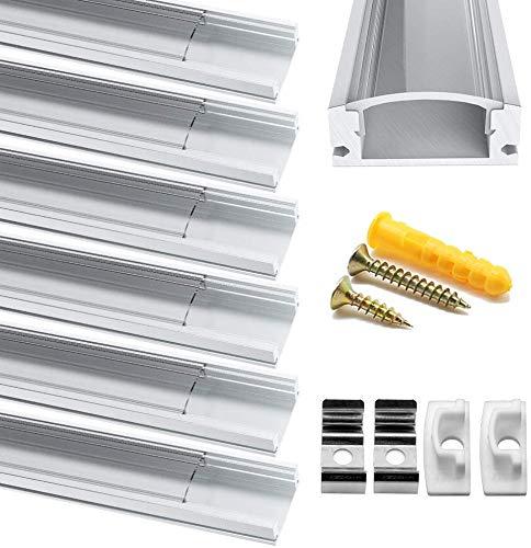 Profilo in Alluminio, Jirvyuk 6 Pack 1m/3.3ft Profilo LED U-Shape per Striscia LED + Coperchio Trasparente, Canalina di Alluminio con Cover, Montaggio Universale