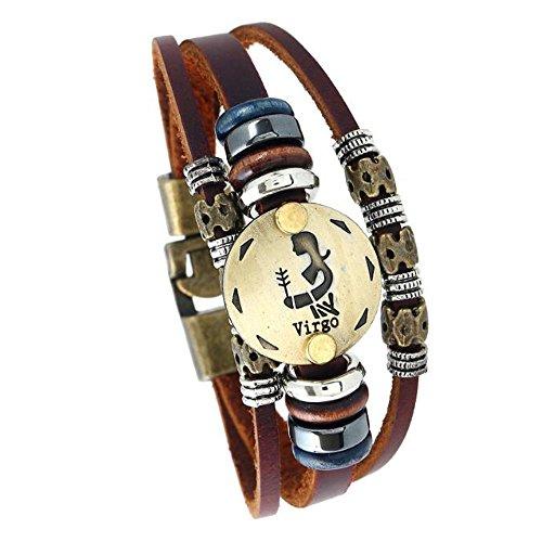 Sternzeichen Constellation Astrologie Armband Multilayer Charm Leder Armband Armreif