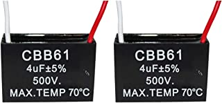 CompStudio 2Pcs 4UF 500V CBB61 Ceiling Fan Capacitor 2 Wire 50/60Hz