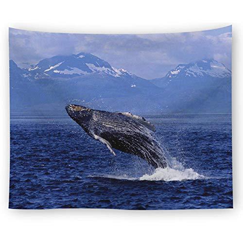 AdoDecor Tapiz Belleza mar Playa paisajes Gran Ballena tapices para Colgar en la Pared decoración del hogar rectángulo Dormitorio Pared Arte Tapiz 150x180cm