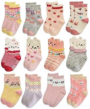 RATIVE Non Skid Anti Slip Cotton Dress Crew Socks With Grips For Baby Infant Toddler Kids Girls  1-3T RG-820821