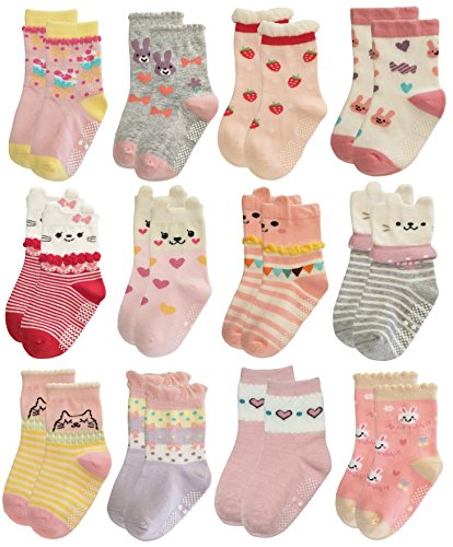 RATIVE Non Skid Anti Slip Cotton Dress Crew Socks With Grips For Baby Infant Toddler Kids Girls (24-36 Months, 12-pairs/RG-820821)