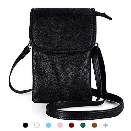 befen Small Black Leather Cell Phone Holder Case Crossbody Wallet Purse Mini Smartphone Shoulder...