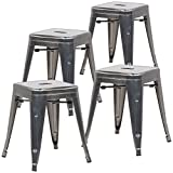 EdgeMod Trattoria 18 Inch Metal Side Dining Chair and Bar Stool in Polished Gunmetal (Set of 4)