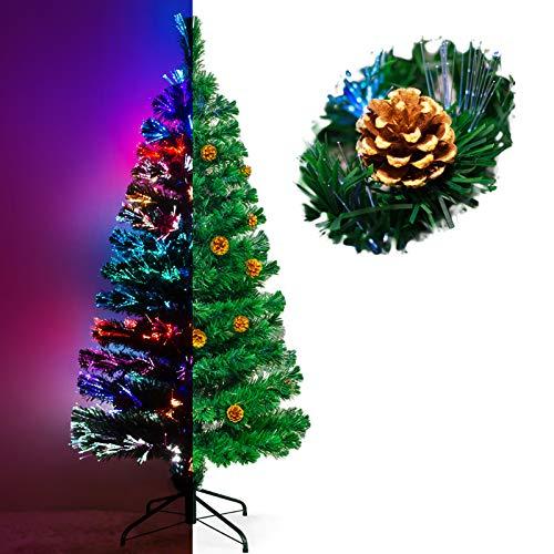 Künstlicher Glasfaser Weihnachtsbaum 180 cm mit LED Beleuchtung und echten vergoldete Zapfen Christbaum Tannenbaum