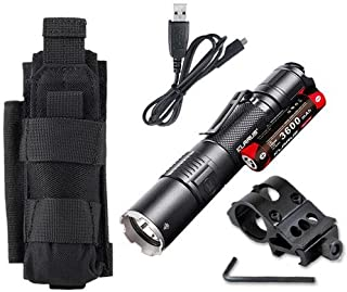 Klarus XT2CR Rechargeable Flashlight -CREE XHP35 HD E4 LED -1600 Lumens -Includes 3600mAh Battery w/Offset Gun Mount +Tactical Holster