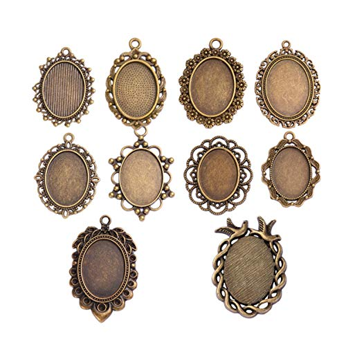 HEALLILY 20Pcs Vintage Anhänger Tabletts Kit Metall Ovale Cabochon Epoxy Dome Fliesen für Die Herstellung von DIY Schmuck Herstellung Zubehör
