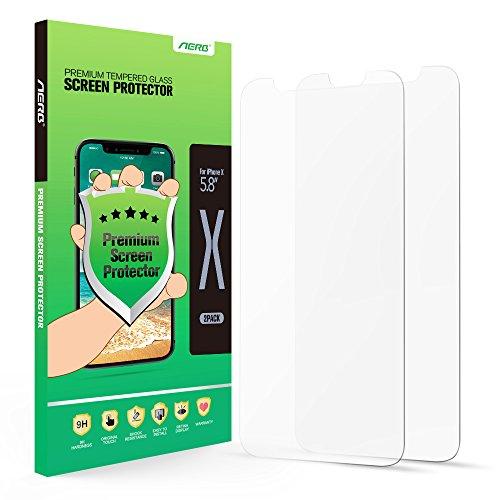iPhone X Protector de Pantalla, Aerb 2 piezas Templado Protector de Pantalla Para Apple iPhone X [9H Dureza][Alta Definicion 0.3mm] [3D Touch Compatibles]
