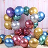 50 Globos de Latex Globos Metalizados Colores Surtidos 27 cm 10,6' Biodegradable Fabricado en España Globos Metalizados Fiesta, Decoración,...