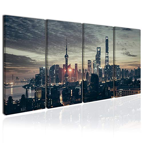 Topquadro 4 teiliges Wandbild, XXL Leinwandbild 80x160cm, Shanghai, Lichter, Stadt und Gebäude in der Nacht, Stadtbild China - Keilrahmenbild, Bild auf Leinwand - 4 TLG