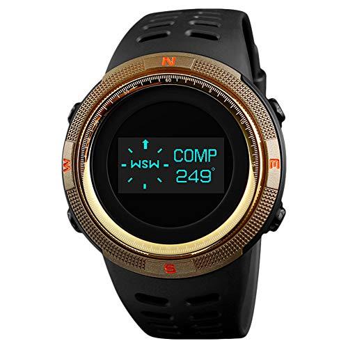 Surenhap Orologio Digitale Sportivo, da Uomo, Militare, Impermeabile, cronometro, Conto alla rovescia, con Data e Allarme Gold