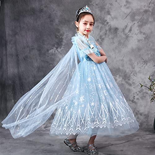 Vestidos de niñas, princesa disfraces de disfraces para niñas Snow Reina Traje de lujo en la lentejuelas con Capa de Cumpleaños Cosplay Halloween Party Dresses Outfit-130cm