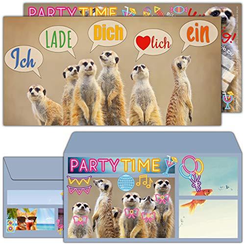 12-er Set Erdmännchen Einladungskarten mit Umschlag zum Kindergeburtstag oder Party - Einladungen für Kinder, Teenager & Erwachsene von BREITENWERK