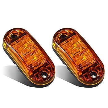 Partsam 2x Oval 2.5  Trailer Truck Amber Led Side Marker Lights Lamps 2 Diodes Surface Mount Boat Marine LED Courtesy Lights 2.5 Inch Trailer led clearance and side marker lights