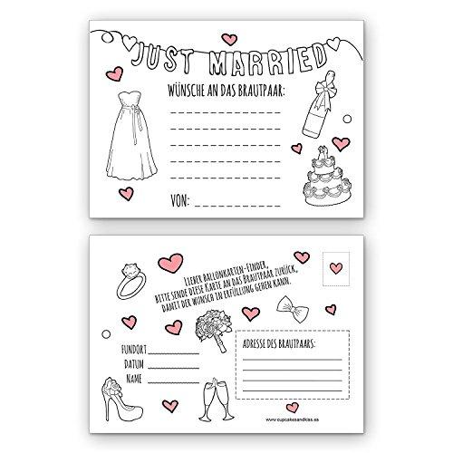 CUPCAKES & KISSES® 50er Ballonkarten für die Hochzeit Spar-Set I Weiß mit Rosa I Blanko Adresse I Ballonflugkarten mit Feld für Wünsche I Extra leicht