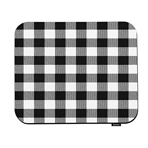 Swono Black and White Plaid Mouse Pads Vintage White Black Gingham Checkered Tartan Buffalo Check Mouse Pad for Laptop Funny Non-Slip Gaming Mouse Pad for Office Home Travel Mouse Mat 7.9'X9.5'