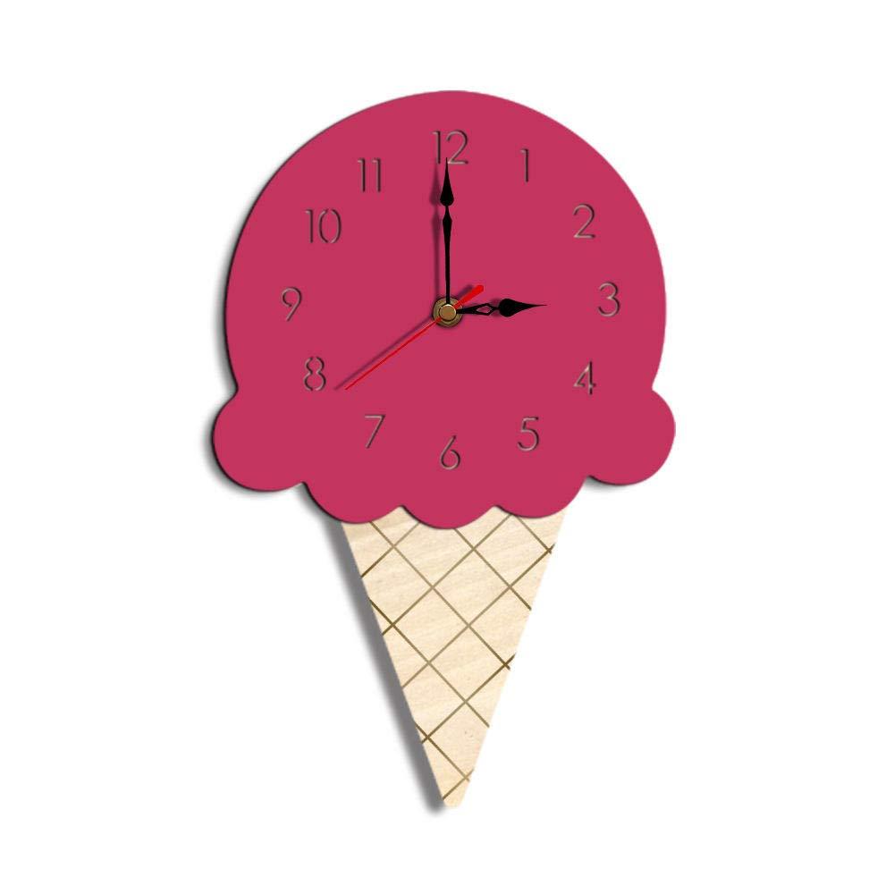 ساعة حائط على شكل ساعة نورديك أيس كريم كرتون كتم صوت ساعة حائط للأطفال S لتزيين غرفة الأطفال لديكور المنزل كوارتز صغير زهري Amazon Ae