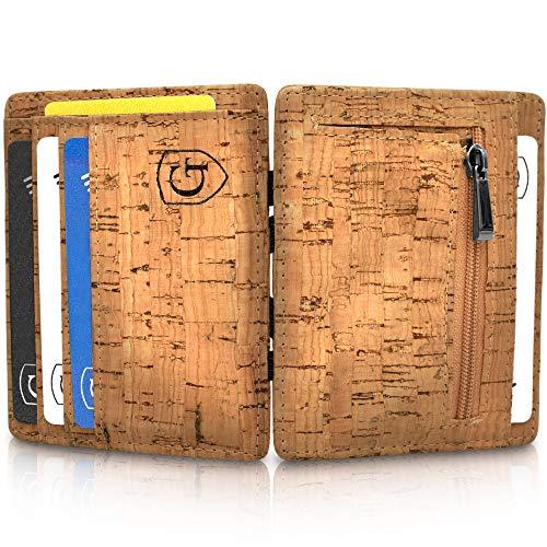 GenTo® Vegas Magic Wallet - Das Original - TÜV geprüft - Dünne Geldbörse mit Münzfach - Geschenk für Herren mit Geschenkbox - Smarter Geldbeutel - Slim Portemonnaie (Hellbraun - Kork)