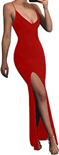 TOB Women's Sexy Bodycon Sleeveless Spaghetti Strap V-Neck Evening Long Dress