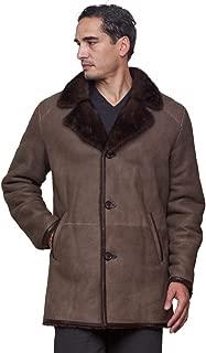Elijah Shearling Sheepskin Jacket with Mink Fur Trim in Brown