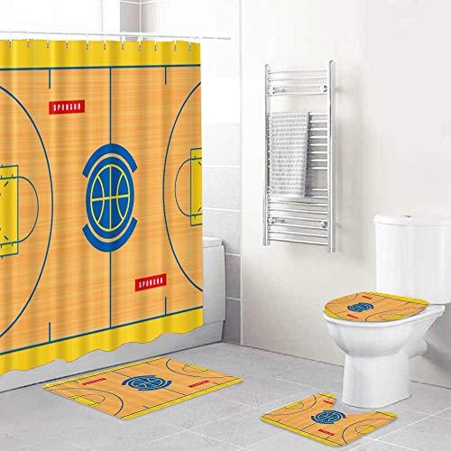 LISUMAL Duschvorhang Teppich Mat Vier teiliges,Grundriss des Basketballplatzes drucken,Badezimmer Mat Set Soft Home Mat Modernes Design Non Slip Teppich