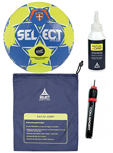 Select Handball-Paket Maxi Grip 2.0 Ballgr. 1 + Ballbeutel Regrip 200 ml ConSport Ballpumpe