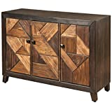 Collective Design Transitional Displaced Chevron Patterned 3-Door Espresso Finish Credenza, Brown