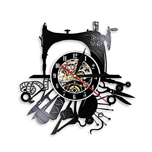 LKJHGU Máquina de Coser de Pared Hobby decoración de la Pared diseño Moderno decoración de la habitación diseño Moderno Disco de Vinilo Reloj de Pared Hermosa Ropa de diseñador Logo en la Pared